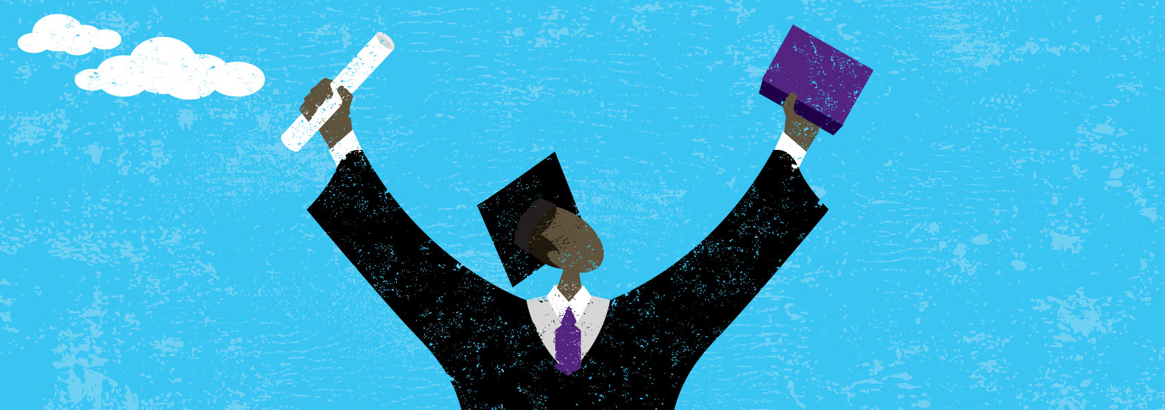 An illustration of a graduate celebrating wtih a diploma and book held to the sky