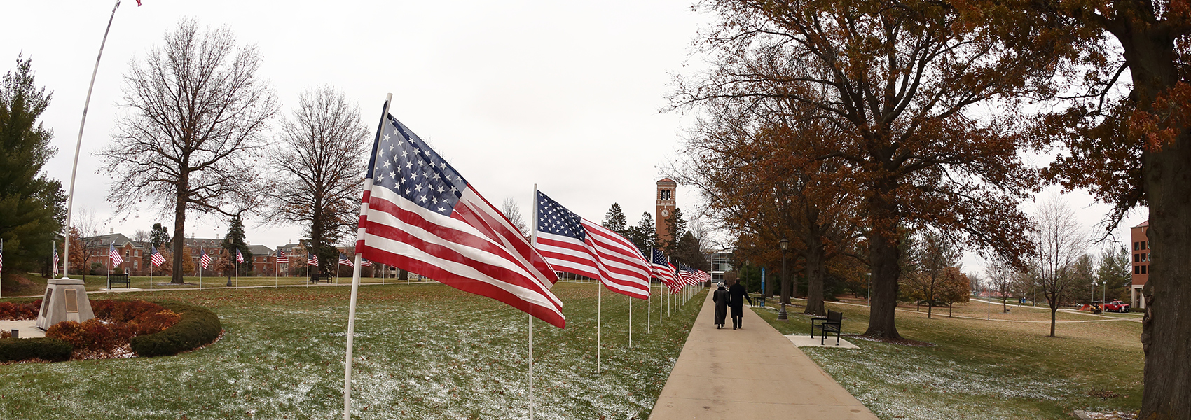 American Flags on UNI campus